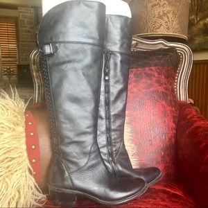 Vince Camuto black leather stud detail boots